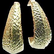 14K Yellow Gold Diamond Cut Hoop Earrings