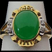 14K Yellow Gold Apple Green Jade & Diamond Ring