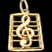 14K Yellow Gold Diamond Cut Music Note Pendant