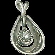 14K White Gold Floating .25 Carat Diamond Pendant