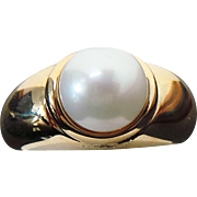 14K Yellow Gold 9 mm White Cultured Pearl Ring