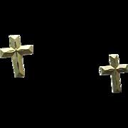 14K Yellow Gold Pierced Post CROSS Earrings