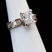 14K Yellow Gold 1.50 Emerald Cut & Baguette Ring