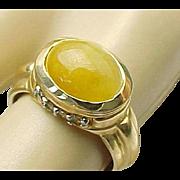 14K Yellow Fire Opal & Diamond Ring ~ Unisex ~