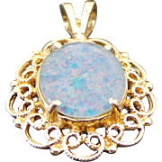 14K Yellow Gold Filigree 3.00 Karat Doublet Opal Pendant