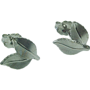 14K White Gold Leaf Pierced Post Earrings