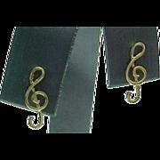 Vintage 14K Yellow Gold Music Note Pierced Post Earrings