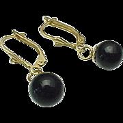 14k Gold Pierced Lever Back Onyx Dangle Earrings