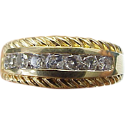 Unisex 14 k Yellow Gold 7 Diamond Band With Rope Accent