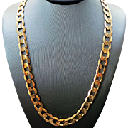 14K Yellow Gold Unisex Solid 8.5 mm Curb Chain ~ 20""