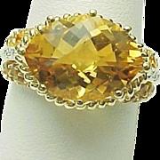 14K Yellow Gold 4.20 Carat Citrine & Diamond Ring