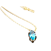 """14K Yellow Gold 1.00 carat Marquis Blue Topaz Necklace ~ 24"""" Long"""