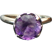 14K White Gold 1.80 Carat Amethyst Solitaire Ring