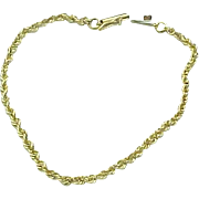 "14K Yellow Gold Rope Bracelet ~ 7"""
