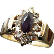 14k Gold .50 Carat Marquis Purple Spinel and Diamond Ring