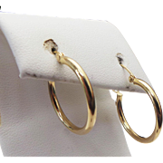 14K Yellow Gold Medium Hoop Earrings