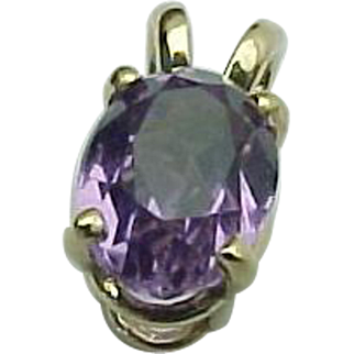 14K Yellow Gold .75 Carat Amethyst Solitaire Pendant