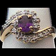 14K Yellow Gold .25 Carat Oval Amethyst & Diamond Ring