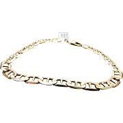 """14k Yellow Gold Solid 6 mm Anchor Bracelet ~ 9"""""""