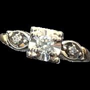 14k Art Deco Two Tone Diamond Engagement Ring