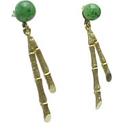 14K Yellow Gold Pierced Bamboo Jade Earrings