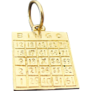14K Yellow Gold Bingo Card Charm/Pendant