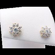 14K Yellow Gold Simulated Diamond FLOWER Pierced Post Studs