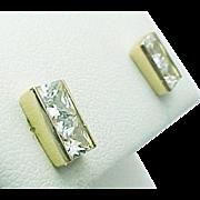 Beautiful 14K Yellow Gold Rectangle Simulated Diamond Pierced Drop Earrings