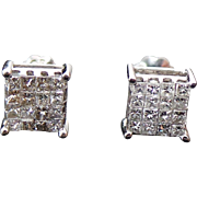 14K White Gold .60 Carat Princess Cut Diamond Screw Back Studs