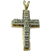 Vintage 14K Yellow Gold 3 Dimensional Diamond CROSS