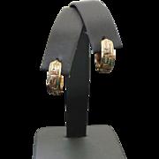 14K Yellow Gold, Pierced Greek Key 5 mm Wide Huggie Earrings