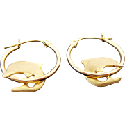 14K Yellow Gold Three Dimensional Dolphin Hoop Earrings