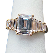 14K Yellow Gold 1.50 Carat Emerald Cut & Baguette Simulated Diamond Ring