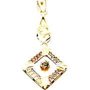 14k Yellow Gold Filigree lavalier Pendant