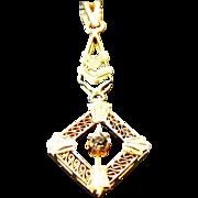 14k Yellow Gold Filigree lavalier Pendant