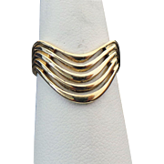 14K Yellow Gold Chevron Style Ring