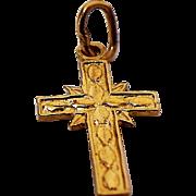 14K Yellow Gold Diamond Cut Cross Pendant/Charm