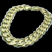 "14K Yellow Gold Diamond Cut Curb Bracelet 8"""