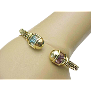 14K Yellow Gold Gemstone Flexible Cuff Bracelet