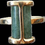 Vintage 14K Yellow Gold Jade Modernist Ring