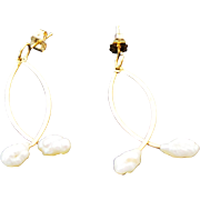 14k Yellow Gold Pierced Post Dangle Seed Pearl Earrings
