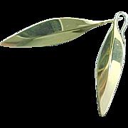 14K Yellow Gold Leaf Threader Earrings