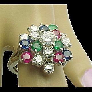 14k White Gold Diamond, Sapphire, Emerald Custom Cluster Ring