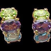 14K Yellow Gold Topaz, Amethyst, Peridot Pierced Post Drop earrings