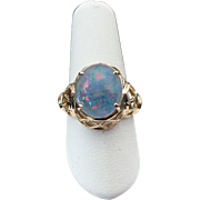 14K Yellow Gold Filigree Doublet Opal Ring