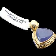 14k Yellow Gold Purple Jade Pendant