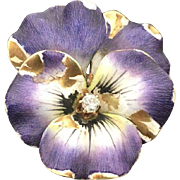 14k Yellow Gold, Purple & White Pansy Brooch/ with Diamond
