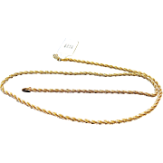 14K Yellow Gold 2.35 mm Diamond Cut Spiral Cut Rope Chain ~ 16""