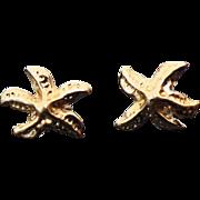 14K Yellow Gold Pierced Post Star Fish Earrings