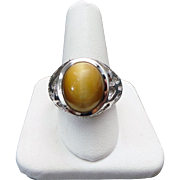 14K White Gold Tigers Eye Unisex Textured Ring